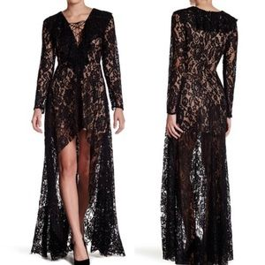 Nordstrom | Do + Be Black Boho Lace High-Low Dress